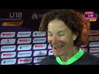 Sonia O'Sullivan after the Silver medal of her daughter Sophie
