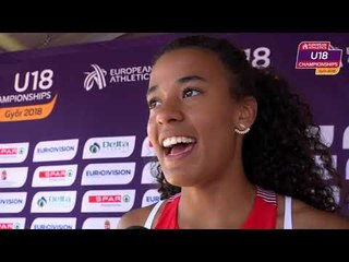 Ditaji Kambundji (SUI) after the heats of the 100mH
