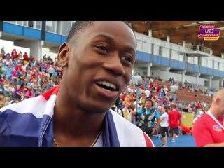 Ojie Edoburun (GBR) after winning Gold in the 100m