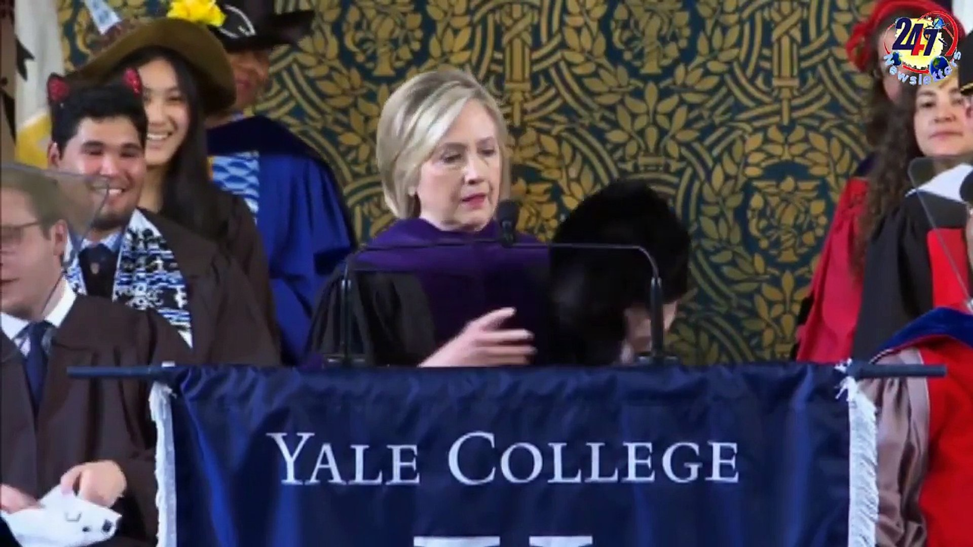 'No, I'm not over it' - Hillary Clinton jabs Trump, shows off Russian hat at Yale Cla