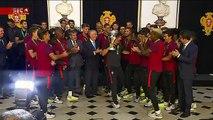 O inesperado acontece: campeões europeus dançam para Marcelo Rebelo de Sousa