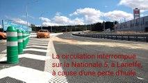 Walcourt: la N5 interdite au trafic à Laneffe suite à une perte d'huile