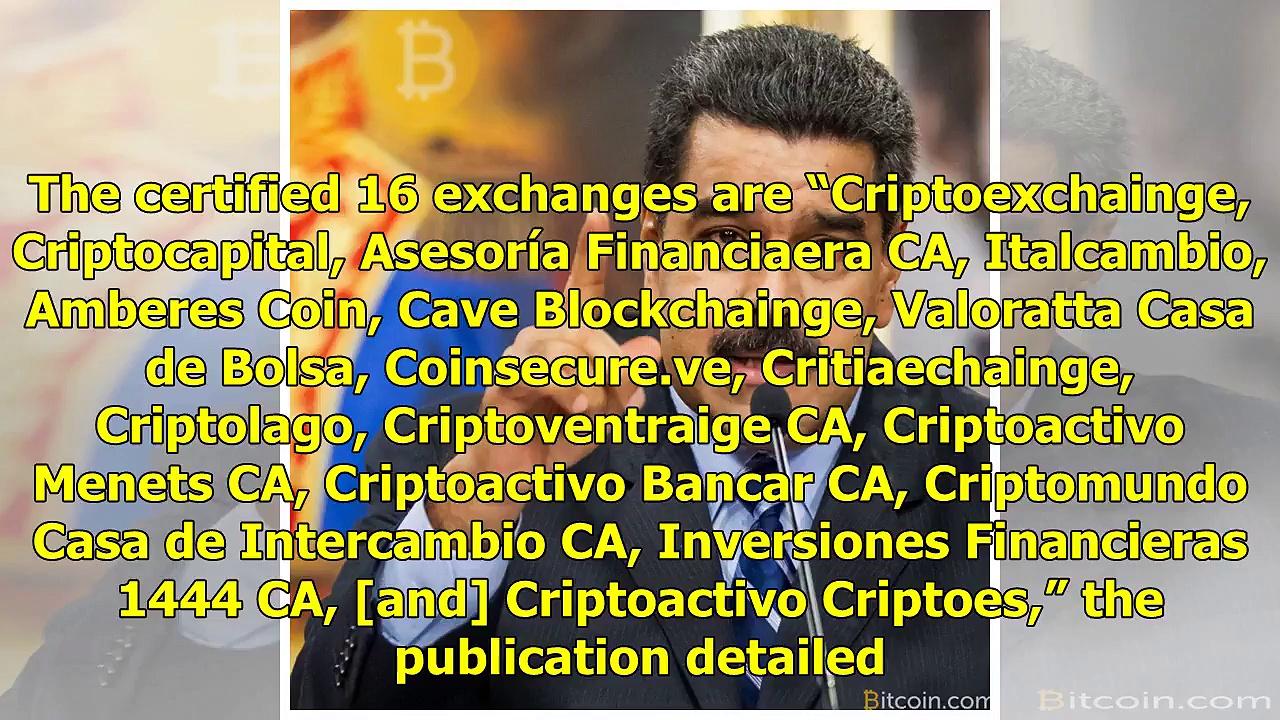 Venezuela Certifies 16 Cryptocurrency Exchanges – Bitcoin News