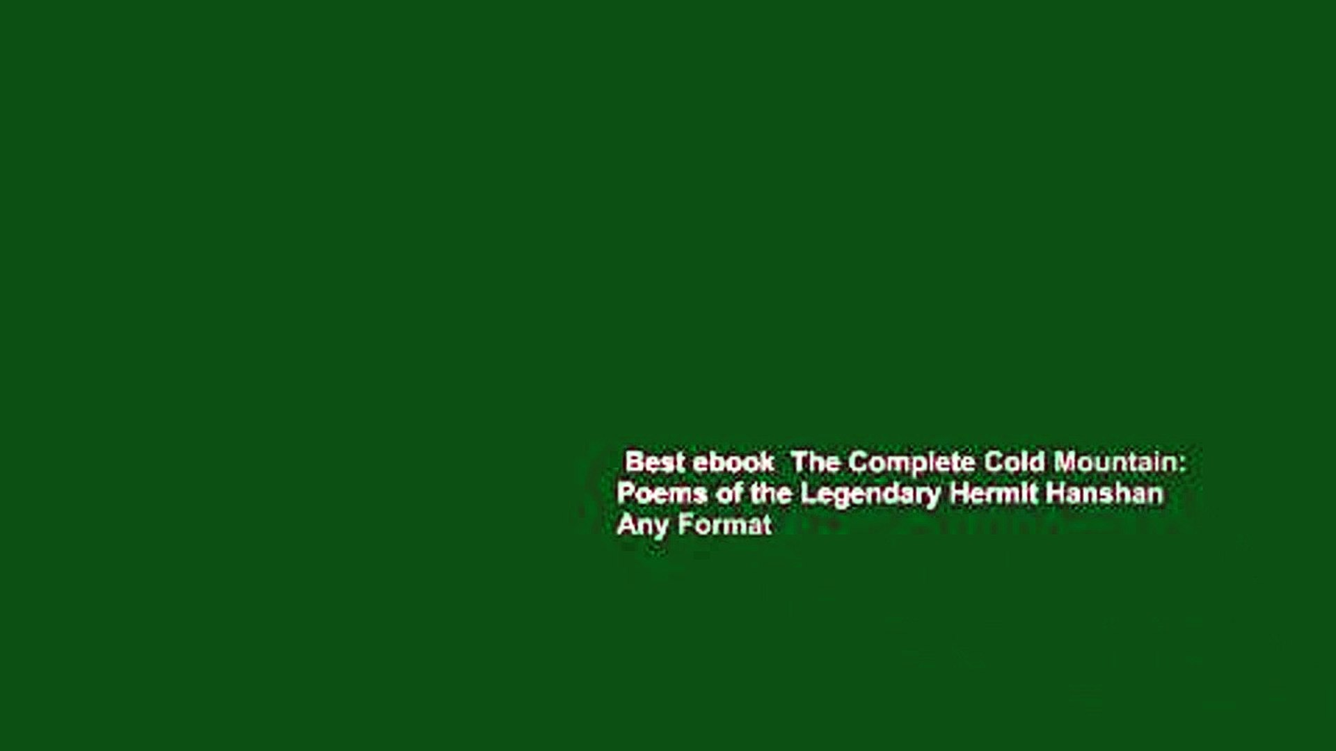 Best Ebook The Complete Cold Mountain Poems Of The Legendary Hermit Hanshan Any Format