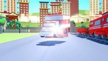 Amber LAmbulance et ses amis à Car City: Troy le Train, Tom la Dépanneuse, Super Truck.