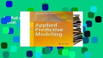 Get Full Applied Predictive Modeling any format
