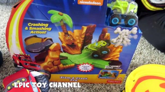 BLAZE AND THE MONSTER MACHINES Zeg Playset + Blaze Fire Truck & Blaze Monster Truck Toys