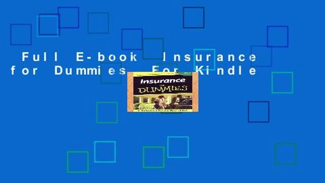 Full E-book  Insurance for Dummies  For Kindle