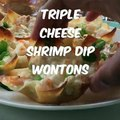 These tasty Triple Cheese Shrimp Dip Wontons combine shrimp, cream cheese, Swiss cheese, Parmesan cheese and garlic baked into a crispy wonton.  The end result