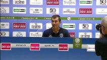 Réaction de Rui Almeida et Jean-Marc Furlan après ESTAC Troyes - Stade Brestois 29