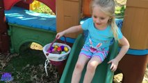 30 SURPRISE EGGS! Easter Egg Hunt in the Pirate Ship Playground Park for Kids W/ Fun Fo