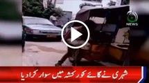 Watch Video: Cow in Rickshaw