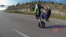 Street Bike STUNTS Long Highway WHEELIES On Extended Swingarm Kawasaki Ninja ZX6R Motorcyc