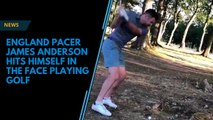 James Anderson tees off, hits golf ball in the head