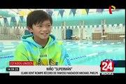 """Niño """"Superman"""": Clark Kent rompe récord de Michael Phelps"""