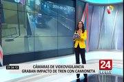 Arequipa: tren impacta con una camioneta y la arrastra por más de 150 metros