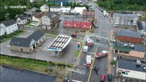 Aerial footage captures aftermath of tornado in Webster, Massachusetts