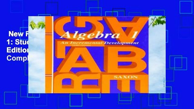 New Releases Saxon Algebra 1: Student Edition Third Edition Third Edition 1997 Complete