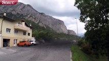 İsviçre'de çamur kütlesi yanardağ gibi patladı