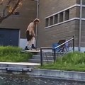Clever Guy Combining Skateboarding And Fishing