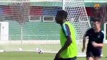 Première séance d'entraînement de Moussa Wagué avec le Barça B