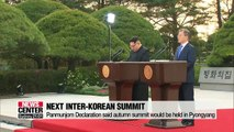S. Korea's presidential spokesperson says next inter-Korean summit in fall may not just take plac in Pyongyang