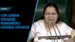 Lok Sabha speaker Sumitra Mahajan remembers former speaker Somnath Chatterjee