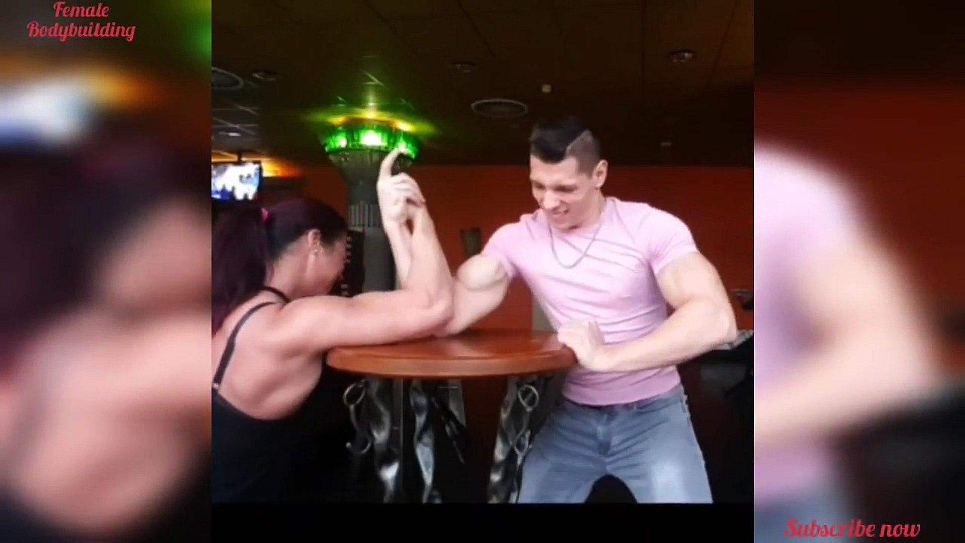 Renata Hronova Big Muscle Girl vs Muscle Man Arm Wrestling Challenge. Strongest women FBB