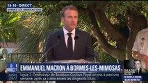 Emmanuel Macron s'exprime à l'occasion de la commémoration de la libération de Bormes-les-Mimosas