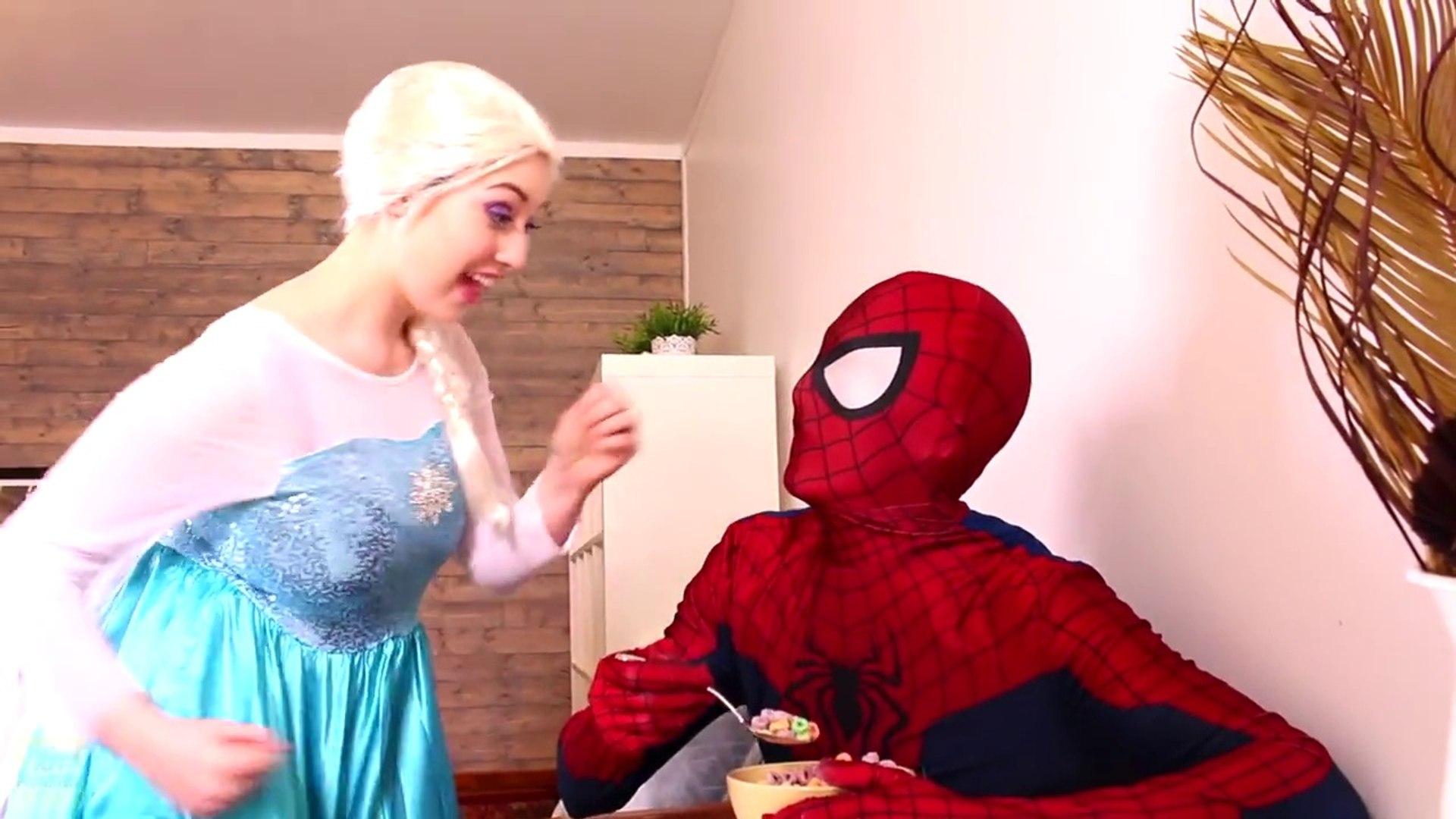 Evil Queen vs. Spiderman & Frozen Elsa! Elsa gets Gummy Joker's tongue! It is fun of superh