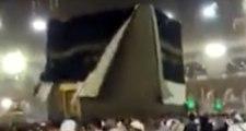 Mekke'de Şiddetli Fırtına ve Yağmur Korkuttu, Kabe'nin Örtüsü Açıldı