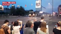 Ukrainian Missile Launcher Narrowly Misses Onlookers And Slams Into Office Building