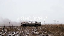 Car Explosion On An Ampty Field | Stock Footage