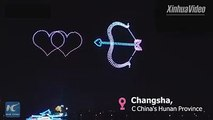 777 drones performed a light show in Changsha, capital city of Central China's Hunan Province, to mark the Qixi festival, or Chinese Valentine's Day, which fall