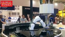 【Video】Would you like a drink? HIT Robot Group's bartending robot mixed a drink in 2 minutes at the World Robot Conference 2018 in Beijing on Aug 16.  Saving ti