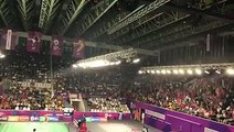 Spectators launching waves of cheers in celebrating Indonesian badminton players' constant victories, including win over Olympic champion Chen Long.