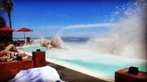 Des vagues géantes ravagent une piscine à Bali
