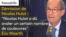 """""""Nicolas Hulot a dû avaler un certain nombre de couleuvres et probablement la coupe était pleine"""" pour Eric Woerth"""