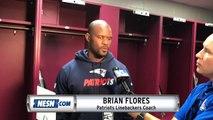 Patriots linebackers coach Brian Flores addresses media