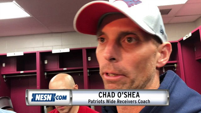 Patriots wide receivers coach Chad O'Shea addresses media