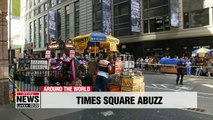 Bee swarm invades hot dog stand in New York's Times Square