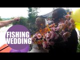 Happy couple renew their wedding vows in fishing themed ceremony