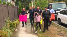 First Responders Greet 9-Year-Old Girl at Crosswalk Where She Nearly Lost Her Life