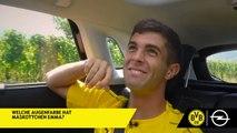 Dritte Fragenrunde im Opel Grandland X! Wer setzt sich die Quiztaxi-Krone auf? Können die Führenden von Christian Pulisic und Thomas Delaney noch abgefange