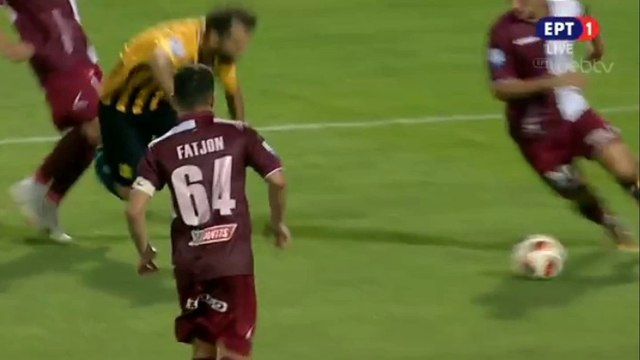 Bruno Gama requests a penalty (68') - Aris vs AEL Larissa - 02.08.2018