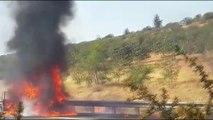 Seyir halindeki otomobil yandı - ŞANLIURFA