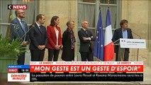 L'ancien ministre de l'Ecologie, Nicolas Hulot, les larmes aux yeux lors de la passation de pouvoir avec François de Rugy - VIDEO