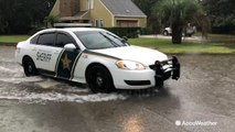Severe flooding in streets of Gulf Shores, Alabama