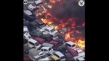 إعصار اليابان يتسبب في اشتعال النيران بعشرات السيارات