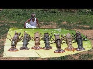 Classic!!! LOBSTER Indian masala prepared by my daddy Arumugam - Village food factory